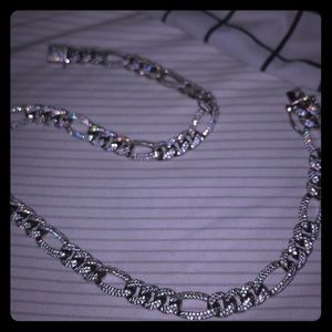 Men's iced out Figaro chain 18 inches